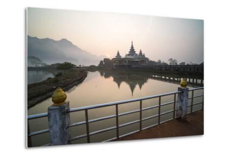 Kyauk Kalap Buddhist Temple in the Middle of a Lake at Sunrise, Hpa An, Kayin State (Karen State)-Matthew Williams-Ellis-Metal Print