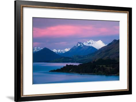 Mount Earnslaw, New Zealand's Southern Alps Against Early Evening Sky Beyond Lake Wakatipu-Garry Ridsdale-Framed Art Print