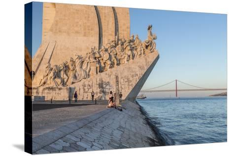 Sunset on the Padrao Dos Descobrimentos (Monument to the Discoveries) by the Tagus River, Belem-Roberto Moiola-Stretched Canvas Print