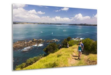 Family Walking on Tapeka Point, Russell, Northland Region, North Island, New Zealand, Pacific-Matthew Williams-Ellis-Metal Print