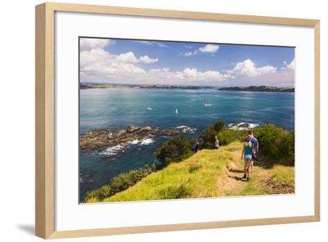 Family Walking on Tapeka Point, Russell, Northland Region, North Island, New Zealand, Pacific-Matthew Williams-Ellis-Framed Art Print