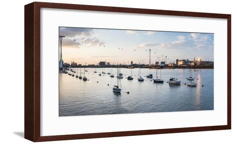 River Thames at Sunset and the Emirates Air Line Cable Car, East London, England-Matthew Williams-Ellis-Framed Art Print
