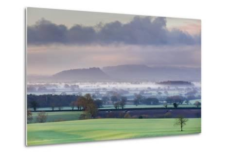 Low Winter Light Rakes across Cheshire Plain with Beeston Castle and Peckforton Sandstone Ridge-Garry Ridsdale-Metal Print