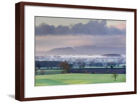 Low Winter Light Rakes across Cheshire Plain with Beeston Castle and Peckforton Sandstone Ridge-Garry Ridsdale-Framed Art Print