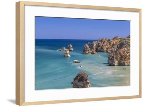 The Turquoise Water of the Atlantic Ocean and Cliffs Surrounding Praia Dona Ana Beach, Lagos-Roberto Moiola-Framed Art Print