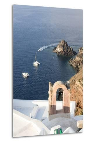 Top View of the Blue Aegean Sea from the Typical Village of Oia, Santorini, Cyclades-Roberto Moiola-Metal Print