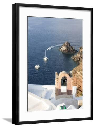 Top View of the Blue Aegean Sea from the Typical Village of Oia, Santorini, Cyclades-Roberto Moiola-Framed Art Print