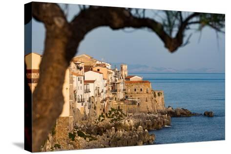 Historic Houses on the Rocky Coastline of Cefalu, Sicily, Italy, Mediterranean, Europe-Martin Child-Stretched Canvas Print