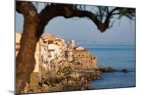 Historic Houses on the Rocky Coastline of Cefalu, Sicily, Italy, Mediterranean, Europe-Martin Child-Mounted Photographic Print