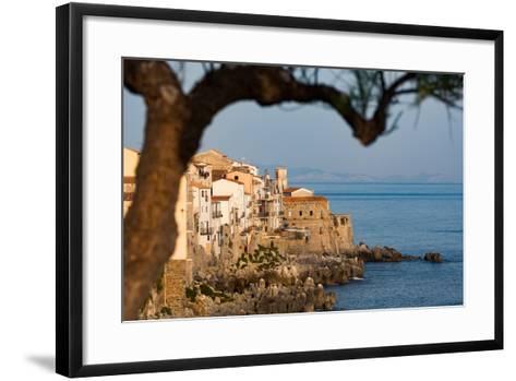 Historic Houses on the Rocky Coastline of Cefalu, Sicily, Italy, Mediterranean, Europe-Martin Child-Framed Art Print