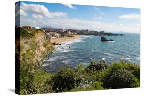 The Beach and Seafront in Biarritz, Pyrenees Atlantiques, Aquitaine, France, Europe-Martin Child-Stretched Canvas Print