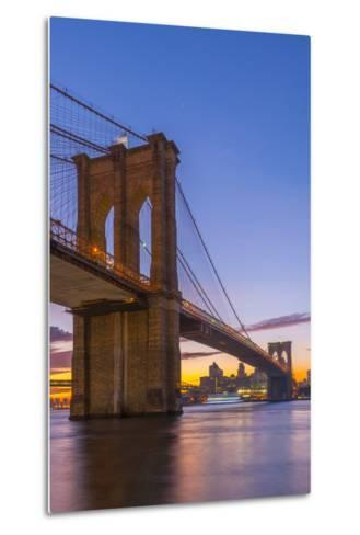 Brooklyn Bridge over East River, New York, United States of America, North America-Alan Copson-Metal Print