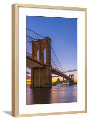 Brooklyn Bridge over East River, New York, United States of America, North America-Alan Copson-Framed Art Print