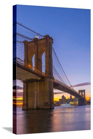 Brooklyn Bridge over East River, New York, United States of America, North America-Alan Copson-Stretched Canvas Print