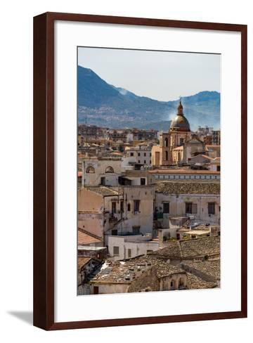View of the Rooftops of Palermo with the Hills Beyond, Sicily, Italy, Europe-Martin Child-Framed Art Print