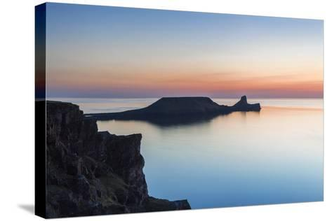 Worms Head, Rhossili Bay, Gower, Wales, United Kingdom, Europe-Billy Stock-Stretched Canvas Print