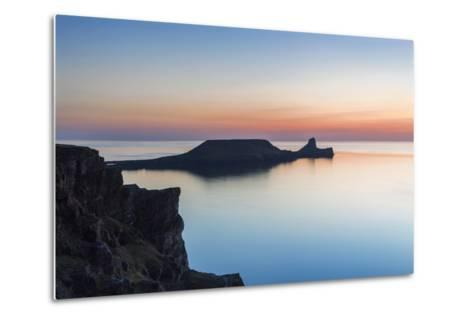 Worms Head, Rhossili Bay, Gower, Wales, United Kingdom, Europe-Billy Stock-Metal Print