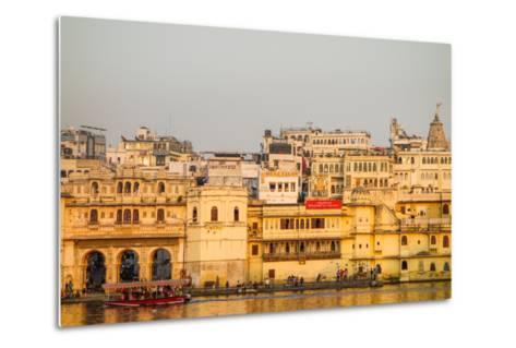 Old Building Facades, Boat in Foreground, City Palace Side, Lake Pichola, Udaipur-James Strachan-Metal Print