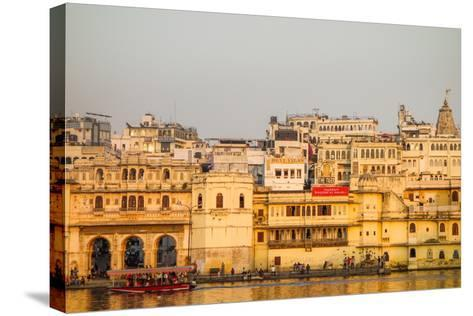 Old Building Facades, Boat in Foreground, City Palace Side, Lake Pichola, Udaipur-James Strachan-Stretched Canvas Print