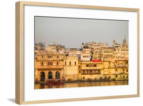Old Building Facades, Boat in Foreground, City Palace Side, Lake Pichola, Udaipur-James Strachan-Framed Art Print