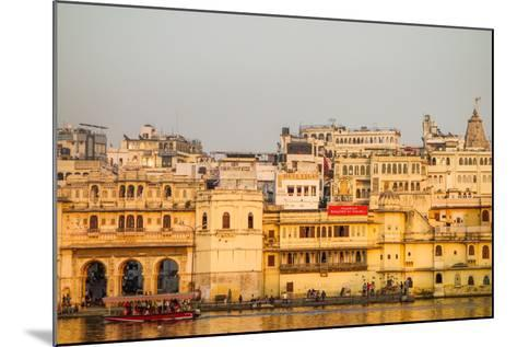Old Building Facades, Boat in Foreground, City Palace Side, Lake Pichola, Udaipur-James Strachan-Mounted Photographic Print