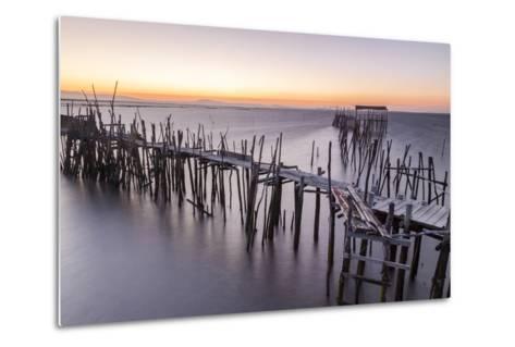 Sunset at Palafito Pier of Carrasqueira, Natural Reserve of Sado River, Alcacer Do Sal-Roberto Moiola-Metal Print