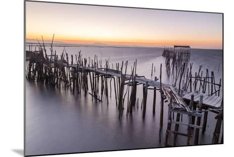 Sunset at Palafito Pier of Carrasqueira, Natural Reserve of Sado River, Alcacer Do Sal-Roberto Moiola-Mounted Photographic Print