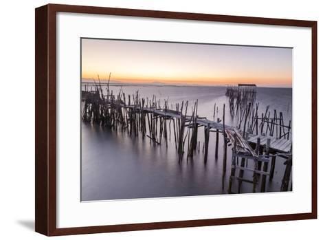 Sunset at Palafito Pier of Carrasqueira, Natural Reserve of Sado River, Alcacer Do Sal-Roberto Moiola-Framed Art Print