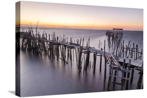 Sunset at Palafito Pier of Carrasqueira, Natural Reserve of Sado River, Alcacer Do Sal-Roberto Moiola-Stretched Canvas Print