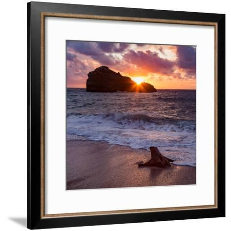 Sunset over Roche Ronde Rock Off the Coast of Biarritz, Pyrenees Atlantiques, Aquitaine-Martin Child-Framed Art Print
