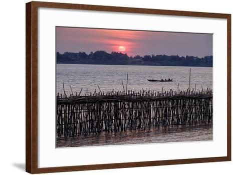 Bamboo Bridge of Koh Paeng Island on the Island River, Kompong Cham (Kampong Cham), Cambodia-Nathalie Cuvelier-Framed Art Print