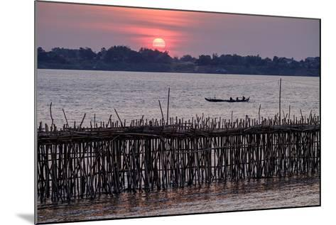 Bamboo Bridge of Koh Paeng Island on the Island River, Kompong Cham (Kampong Cham), Cambodia-Nathalie Cuvelier-Mounted Photographic Print