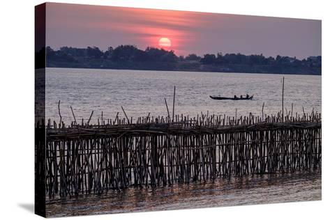 Bamboo Bridge of Koh Paeng Island on the Island River, Kompong Cham (Kampong Cham), Cambodia-Nathalie Cuvelier-Stretched Canvas Print