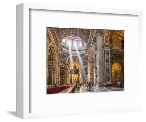 Interior of St. Peters Basilica with Light Shafts Coming Through the Dome Roof, Vatican City-Neale Clark-Framed Art Print
