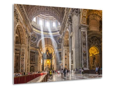 Interior of St. Peters Basilica with Light Shafts Coming Through the Dome Roof, Vatican City-Neale Clark-Metal Print