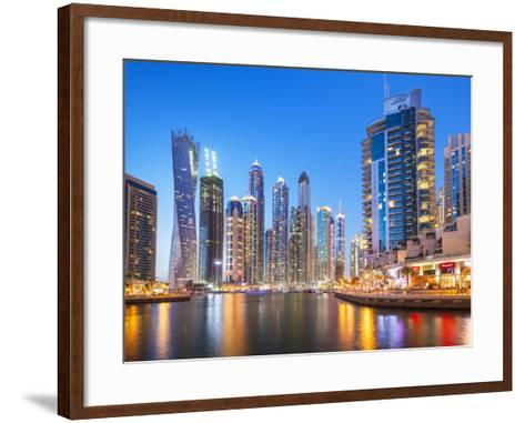 Dubai Marina Skyline at Night, Dubai City, United Arab Emirates, Middle East-Neale Clark-Framed Art Print