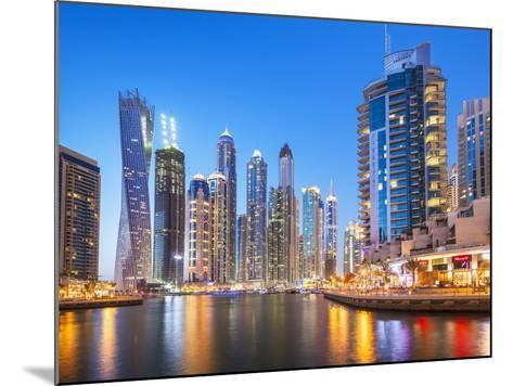 Dubai Marina Skyline at Night, Dubai City, United Arab Emirates, Middle East-Neale Clark-Mounted Photographic Print