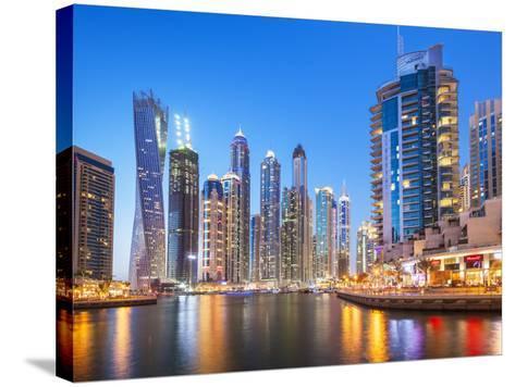 Dubai Marina Skyline at Night, Dubai City, United Arab Emirates, Middle East-Neale Clark-Stretched Canvas Print