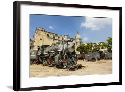 A Vintage Steam Train in a Restoration Yard with Dome of Former Parliament Building in Background-Sean Cooper-Framed Art Print
