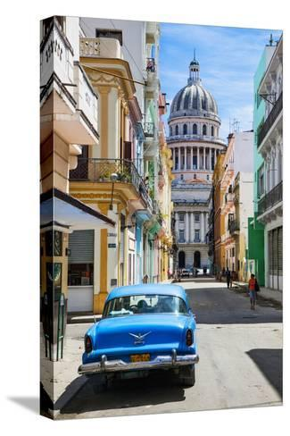 A Classic Car Parked on Street Next to Colonial Buildings with Former Parliament Building-Sean Cooper-Stretched Canvas Print