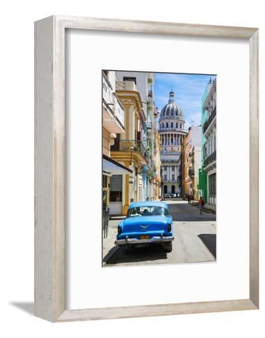 A Classic Car Parked on Street Next to Colonial Buildings with Former Parliament Building-Sean Cooper-Framed Art Print