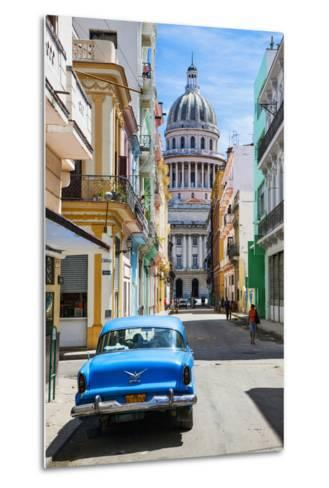A Classic Car Parked on Street Next to Colonial Buildings with Former Parliament Building-Sean Cooper-Metal Print