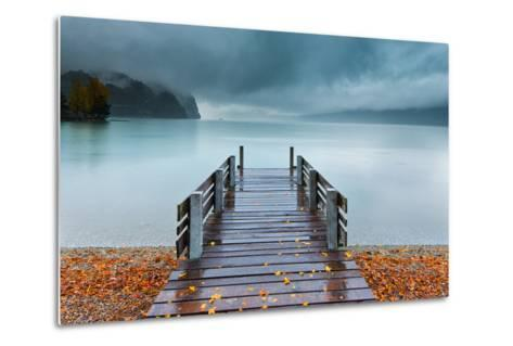 An Autumn Storm Rolls in across Lake Brienz from the Mountains of the Bernese Oberland-Garry Ridsdale-Metal Print