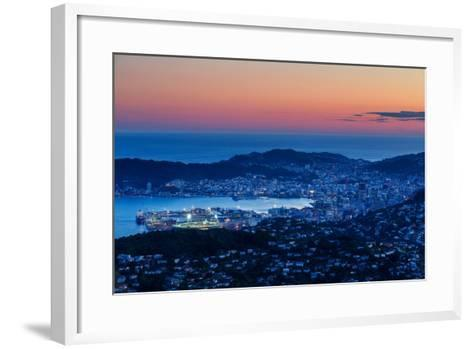 Overlooking the City of Wellington, its Harbour and Beyond to the Cook Straits at Dusk, Wellington-Garry Ridsdale-Framed Art Print