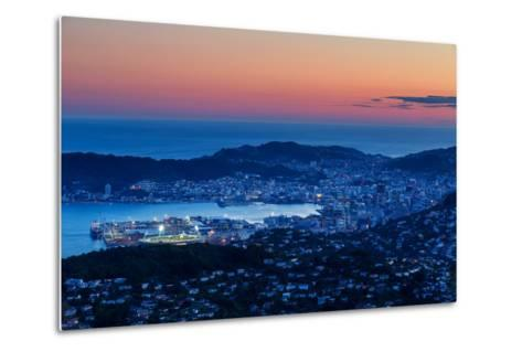 Overlooking the City of Wellington, its Harbour and Beyond to the Cook Straits at Dusk, Wellington-Garry Ridsdale-Metal Print