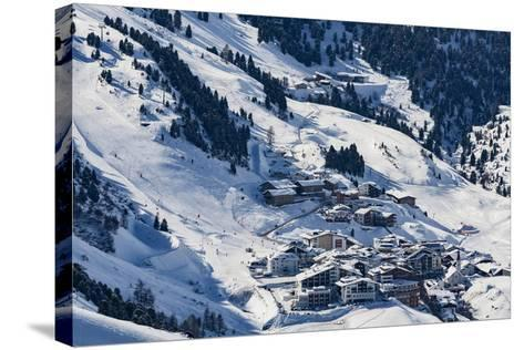 The Austrian Skiing Village of Obergurgl Covered in Winter Snow at the End of the Otztal Valley-Garry Ridsdale-Stretched Canvas Print