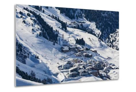 The Austrian Skiing Village of Obergurgl Covered in Winter Snow at the End of the Otztal Valley-Garry Ridsdale-Metal Print