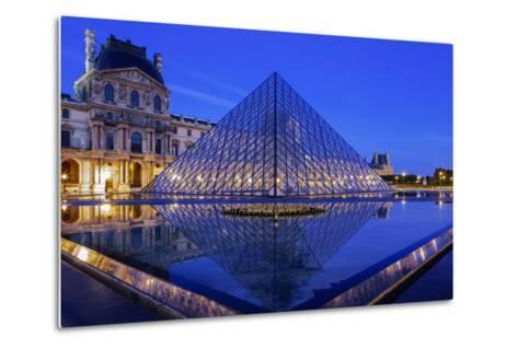 The Louvre Pyramid and Palace Reflected in a Still Pool Within the Napoleon Courtyard at Twilight-Garry Ridsdale-Metal Print