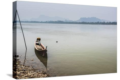 Motor Boat on Salween River (Thanlwin River), Hpa An, Karen State (Kayin State)-Matthew Williams-Ellis-Stretched Canvas Print