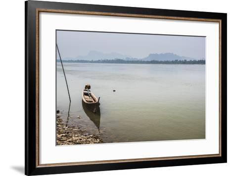 Motor Boat on Salween River (Thanlwin River), Hpa An, Karen State (Kayin State)-Matthew Williams-Ellis-Framed Art Print